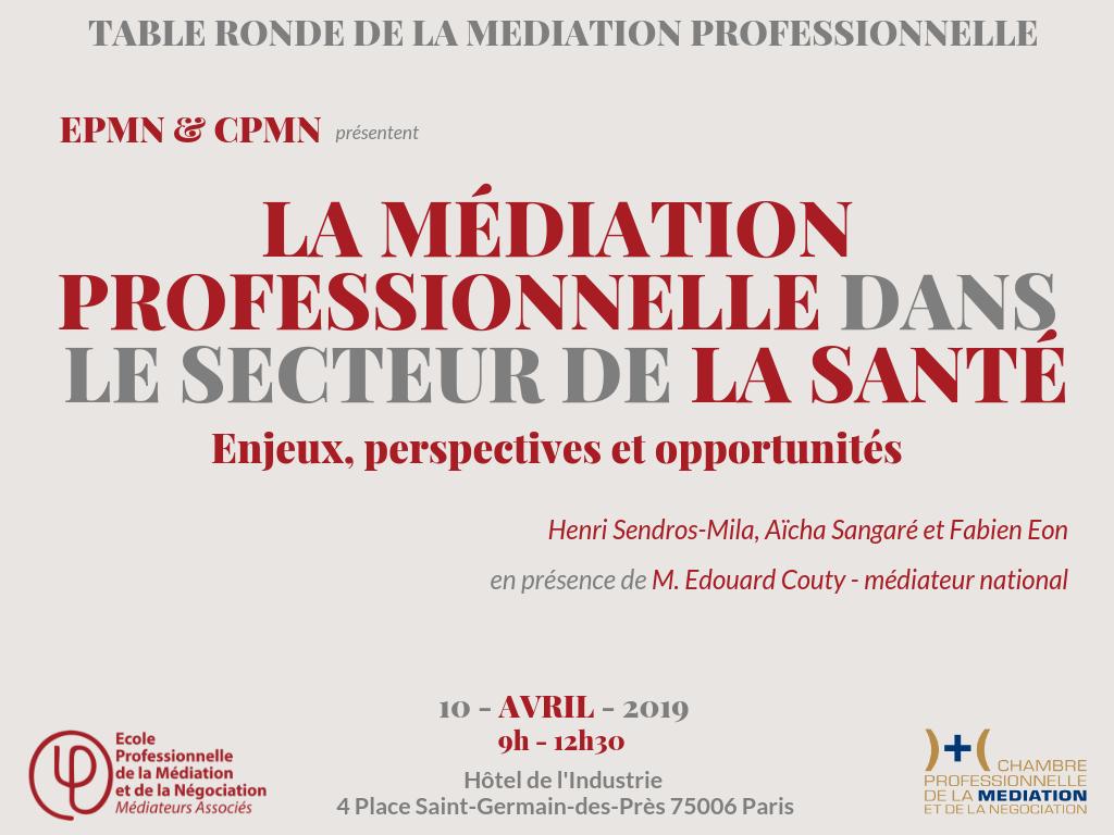 Table-ronde : la médiation dans le secteur de la santé, enjeux, perspectives et opportunités